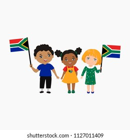 Children of different races and different hairstyles with the flags of South Africa. kids logo. Vector illustration