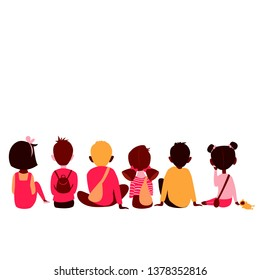 children of different races sit back. vector image of children in different poses