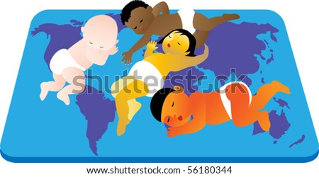 Children Different Skin Color Peacefully Sleeping Stock Vector