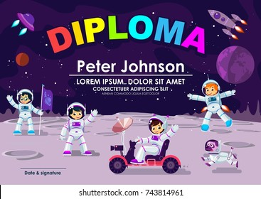 Children Diploma or Certificate Of Achievement & Appreciation Space Moon Theme Cool Vector Template. Children Astronaut in Space Adventures