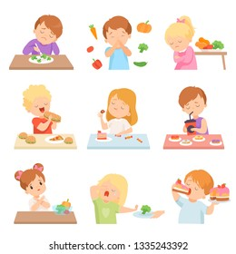 Children Do Not Like Vegetables Set, Kids Enjoying Eating of Fast Food and Sweets Vector Illustration