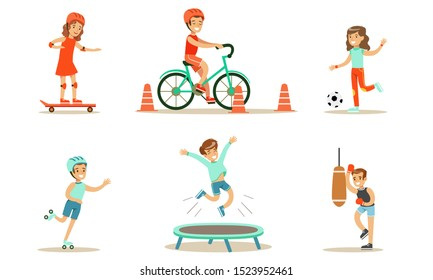 Children Doing Different Kind of Sports Set, Teen Boys and Girls Riding Bicycle, Playing Soccer, Rollerblading, Jumping On Trampoline, Boxing Vector Illustration