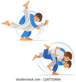 Children are doing high throws judo in judogi.  Illustration with different judo, isolated on white background