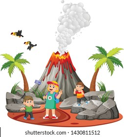 the children are doing a holiday and taking a picture near the volcano