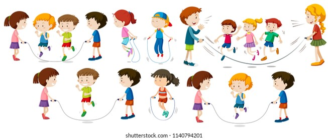 Children doing jump rope illustration