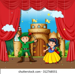 Children doing stage drama illustration