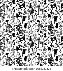 Children doodles draw black and white seamless pattern.