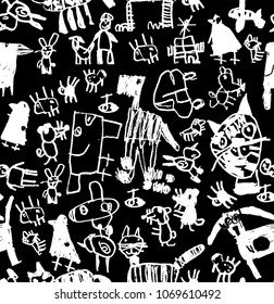 Children doodles draw chalk black and white seamless pattern.