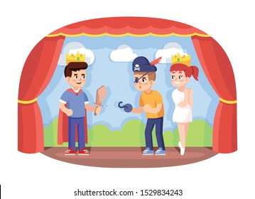 Children drama club flat vector illustration. School play. Young theatre troupe. Extracurricular activities. Development of acting skills. Kids acting performance on stage cartoon characters