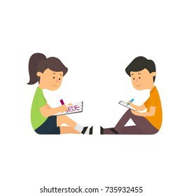 children draw with pencils on paper sitting on the floor. vector illustration