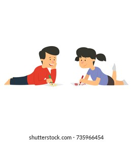 children draw with pencils on paper lying on the floor. vector illustration.