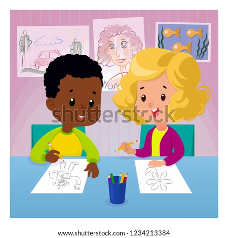Children Draw Table Colored Pencils Drawing Stock Vector Royalty