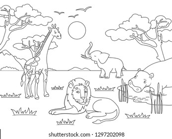 Children drawing. Animals of Africa, mainland mammals, zoo Vector illustration Coloring, black and white coloring.