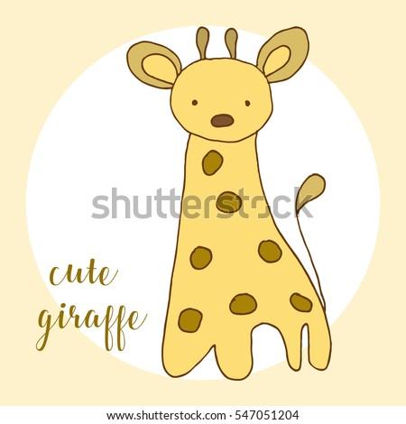 Giraffe Template | Children Drawing Cute Giraffe Template Painting Stock Vector