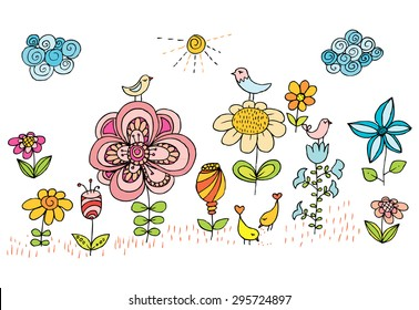 Children Drawing Of Flowers And Birds. Colorful Vector Image With Shining  Sun, Sky Clouds