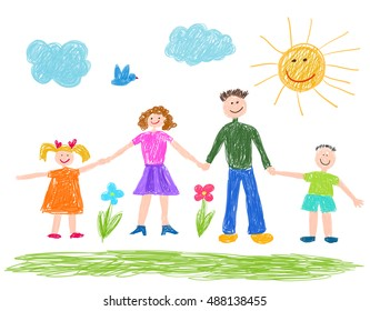 Children drawing, Happy family.