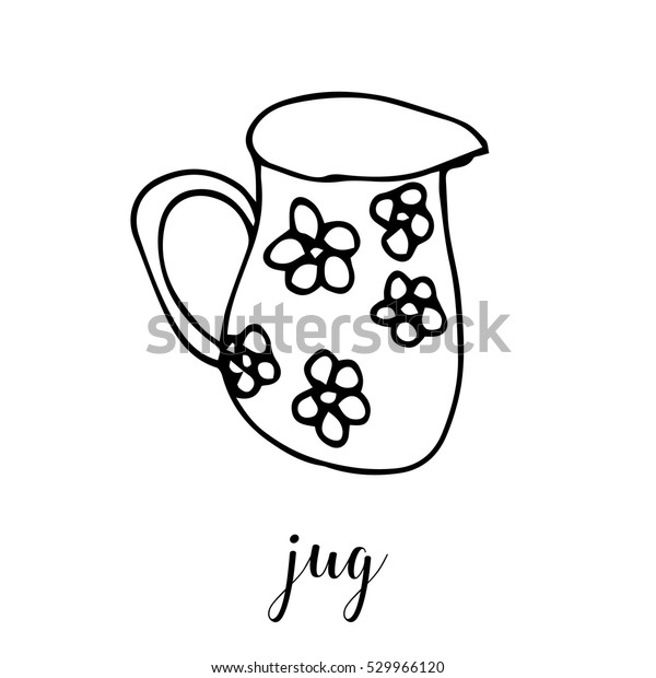 Children Drawing Jug Template Painting Hand Stock Vector Royalty Free 529966120