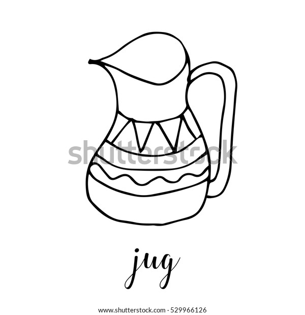 Children Drawing Jug Template Painting Hand Stock Vector Royalty Free 529966126
