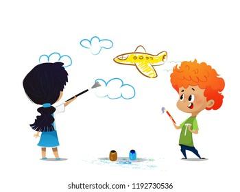 Children drawing on the wall. Cartoon vector illustration