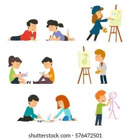 children drawing. vector illustration