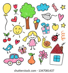 Children drawings in bright pencil and crayon. Cute and funny kindergarten or elementary school education. Vector illustration