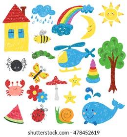 Children drawings set. Colorful vector illustration.