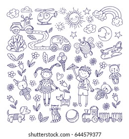 Children dreams. Vector hand drawn illustration of boy and girl. Pets and different toys