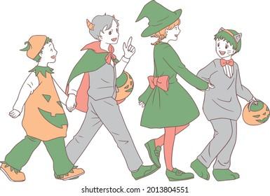 ハロウィーンの衣装を着た子どもたち。