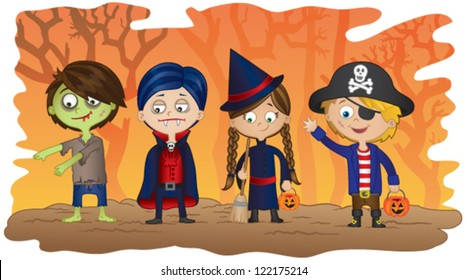 Children dressed in Halloween fancy dress to go trick or treating on Halloween!