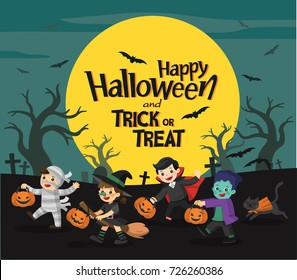 Children dressed in Halloween fancy dress to go Trick or Treating. Happy Halloween. Template for advertising brochure.