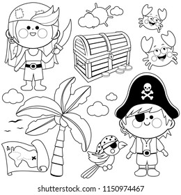 Children dressed as pirates and other pirate theme illustrations. Vector black and white illustration