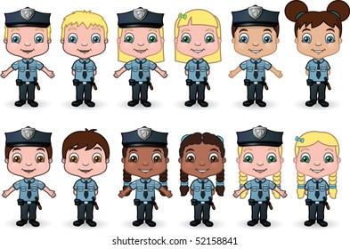 Children Dressed as Police set 1 - vector illustrations.