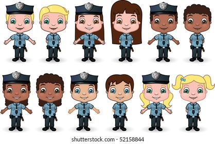 Children Dressed as Police set 2 - vector illustrations.
