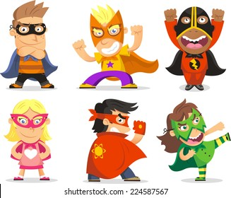 Children Dressed as Superheroes for a Party, Fun or Halloween