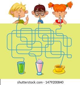 Children drink drinks. Maze game. Cartoon vector illustration. Education game for children.