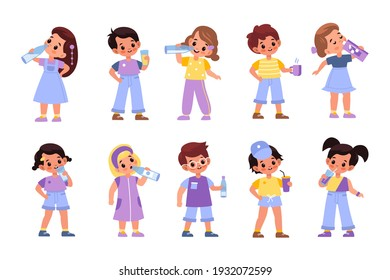 Children drink. Little boys and girls consume variety beverages, happy kids having juices, milk and tea, young people with cups, glasses and bottles collection. Vector cartoon flat style isolated set