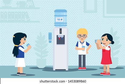 Children drinking water flat vector illustration. Kids standing near watercooler on break time cartoon characters. Thirsty, smiling pupils holding plastic cups with refreshment water