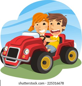 Children driving toy car with a little boy and a little girl smiling, having fun while driving a red toy car. Vector illustration cartoon.