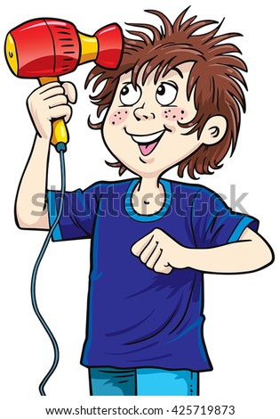 Children Dry Hair Dryer Stock Vector Royalty Free 425719873
