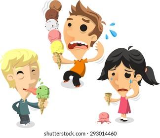 Children eating ice cream cones vector cartoon illustration