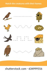 Children education game. Match the creatures with their homes.