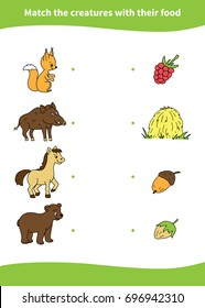 Children education game. Match the creatures with their food.