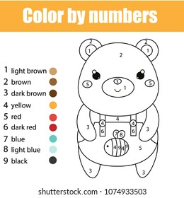 Children educational game. Coloring page with cute bear. Color by numbers, printable activity, worksheet for toddlers and pre school age. Animals theme
