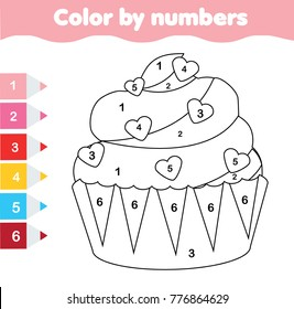 Children educational game. Coloring page with Valentine's day cupcake. Color by numbers, printable activity, worksheet for toddlers and pre school age.