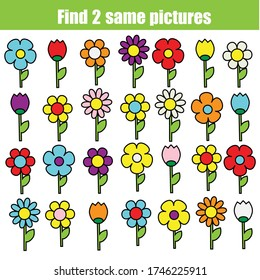 children educational game. Find the same pictures of flowers. fun for kids and toddlers
