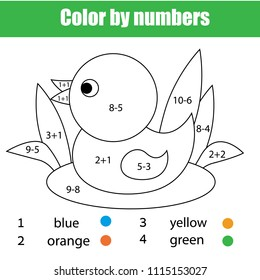 Children educational game. Mathematics coloring page with duck. Solve equations and color picture. Printable worksheet for toddlers with addition and subtraction