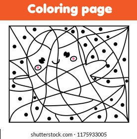 Children educational game. Printable coloring page with cute Halloween ghost. Color by dots, printable activity for toddlers