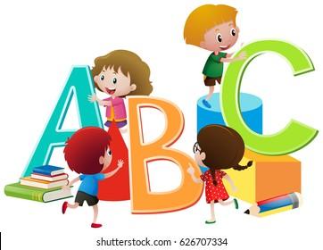 Children with English alphabets blocks illustration