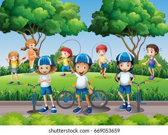 Children exercising in the park illustration