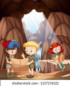 children exploring a cave illustration
